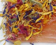 Gravlax ( Marinated Salmon )  with flower combinations