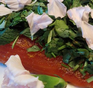 Salmon marinated with coriander, mint and fresh flowers of cloves