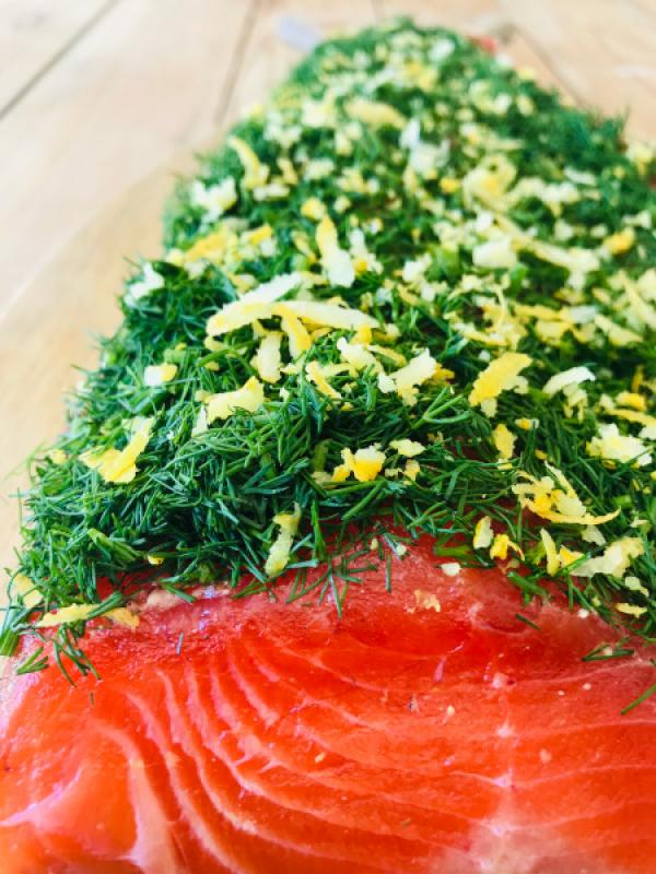 Stained (Graved) fjord trout with dill and lemon zests approx. 1 kg