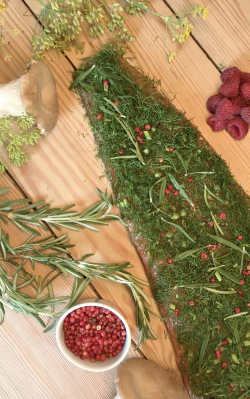 "Graved salmon (marinated) ""Alps Forest"" with fresh dill and rosemary 1.1 kg"