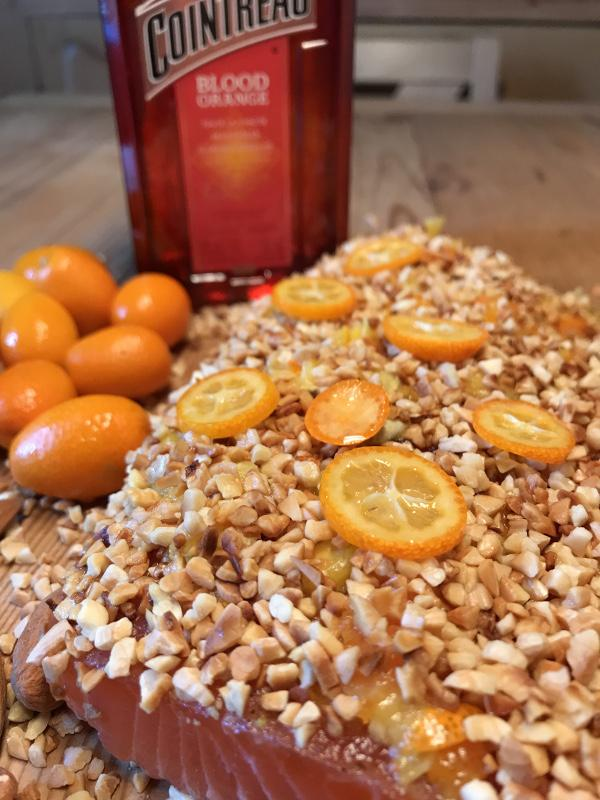 Graved salmon with blood-orange cointreau, roasted almonds and kumquats 300g