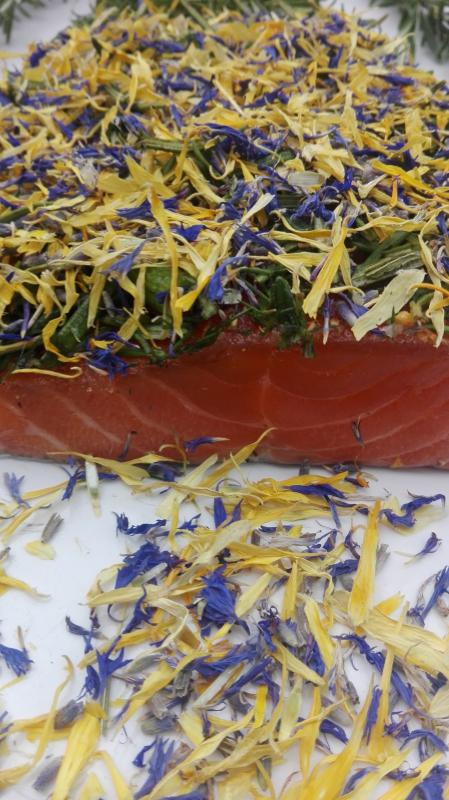 Salmon marinated with rosemary, dill and lavender / marigold
