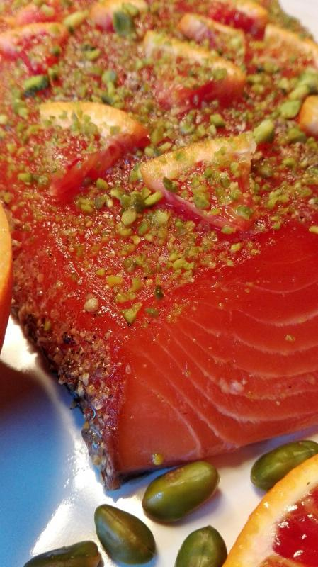 Salmon marinated with gin, blood orange and pistachios 300g