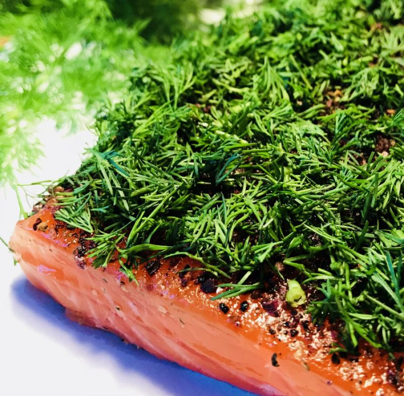 Graved salmon (pickled salmon) Nordic Arctic with aquavit, nordic spices and fresh dill 300g