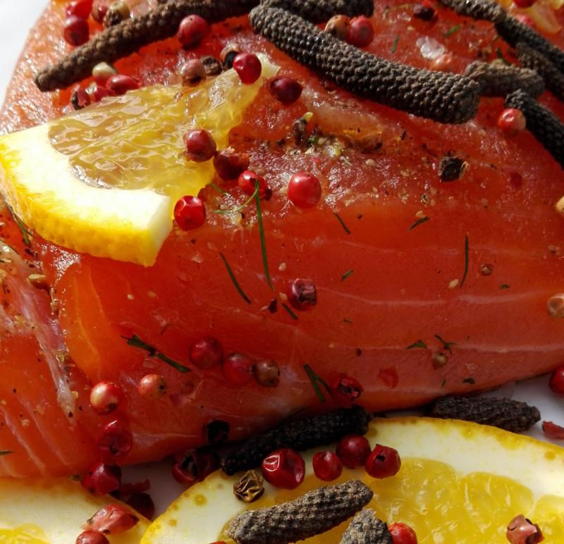 Salmon marinated with wild long pepper, cognac and oranges