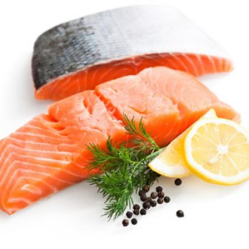 Fresh salmon fillet, whole side on the skin, approx. 1.1 kg