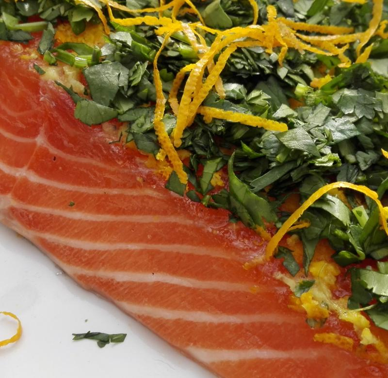 Salmon marinated with orange, ginger and coriander