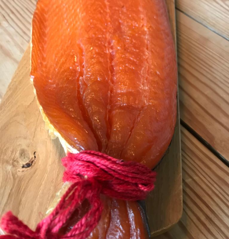 Scottish smoked salmon with red cord, gently smoked, uncut