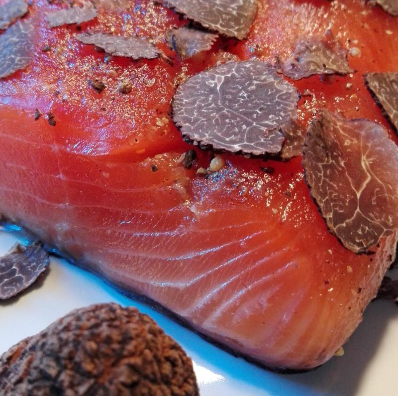 Salmon marinated with White ALBA Truffle Tuber Albidum Pico