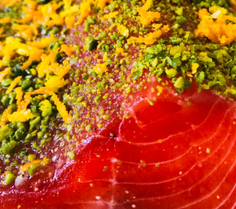Stained (Graved) fjord trout with gin, pistachios and orange zest ca 1 kg