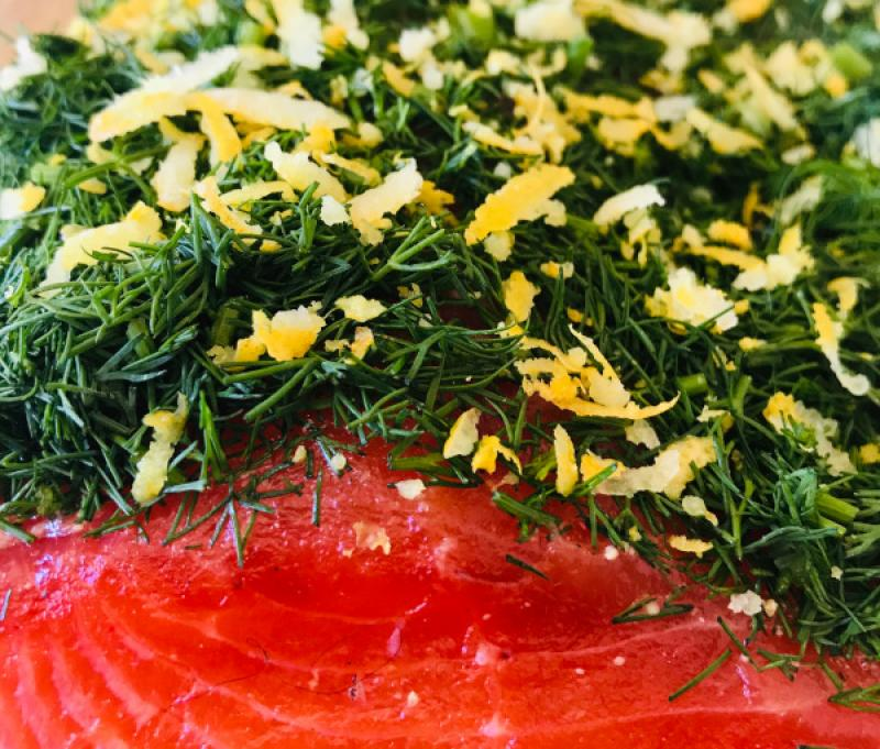 Graved salmon trout with dill and lemon zest 300g