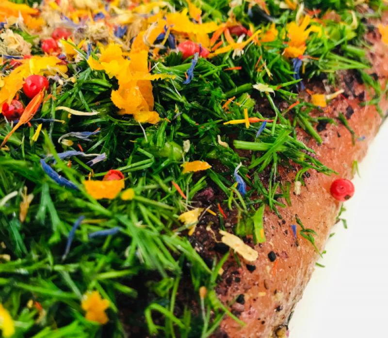 "Graved Salmon ""Spring"" with dill, pink berries, saffron flowers, cornflower blossoms, orange peel 300g"