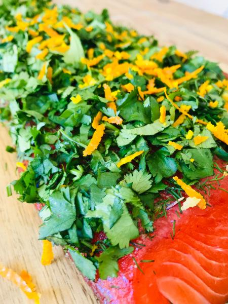 Stained (graved) salmon trout with ginger, coriander and orange zest