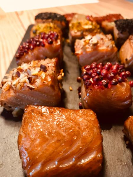 Salmon chocolates, hot smoked ca.500g - different types -