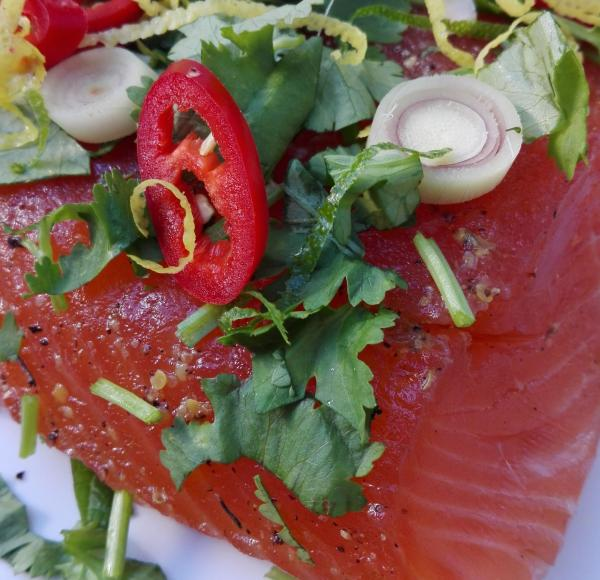 Salmon marinated with Asian spices