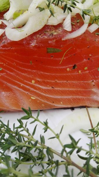 Salmon marinated with fennel and thyme