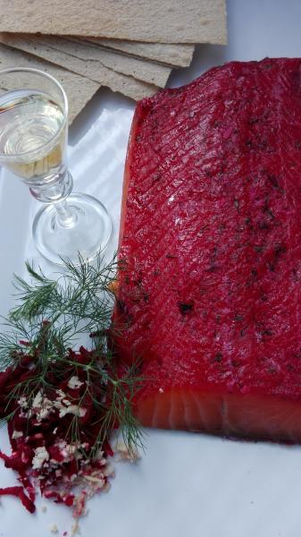 Salmon marinated with beetroots, Meretich and Aquavit