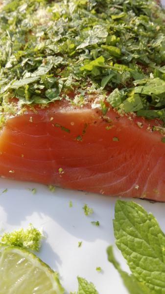 Salmon marinated with mint and lime