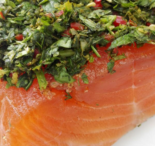 Salmon marinated with