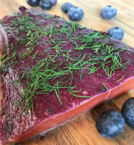 Graved salmon with wild blueberries (blueberries) and a pinch of dill 1.1kg