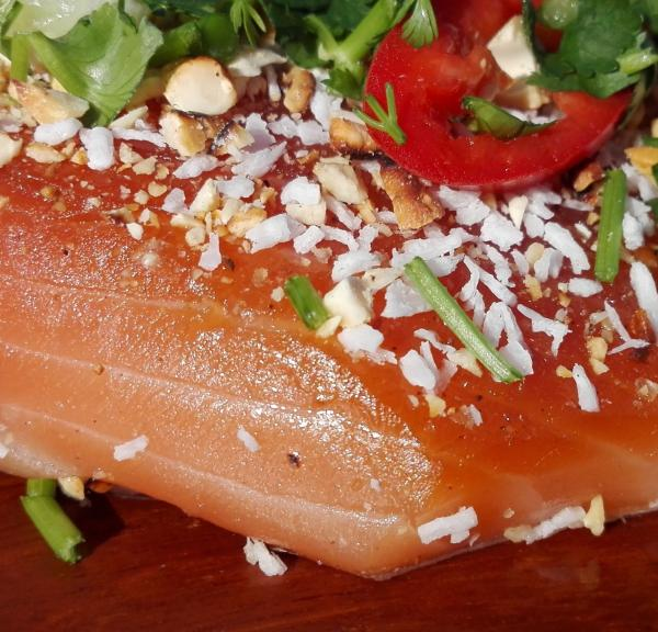 Salmon marinated (Graved) with coconut blossom sugar Thai Style